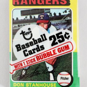 1975 Topps Mini Cello Pack w/ Stars incl. Ron Stanhouse, Bill Lee etc.