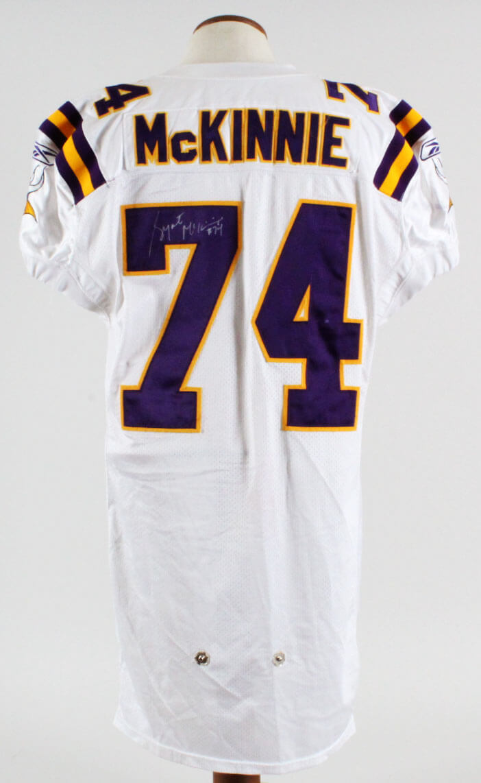 big sale 4a0f9 b9673 2005 Bryant McKinnie Minnesota Vikings Game-Worn, Signed Jersey - COA 100%  Authentic Grade 17/20