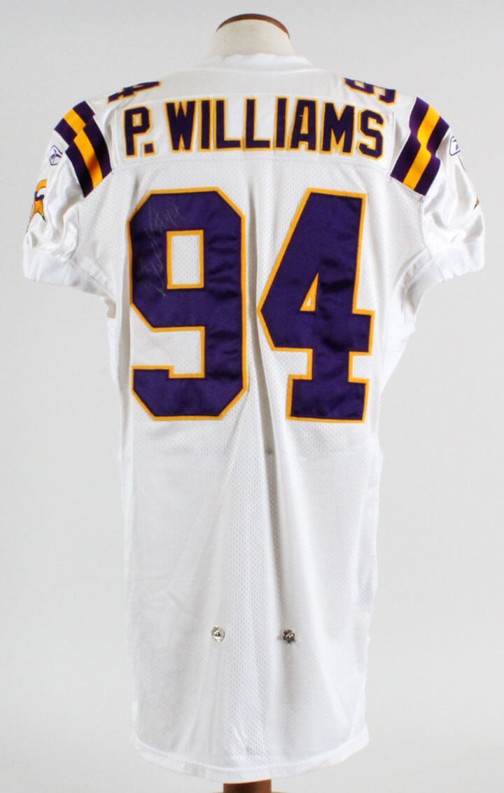 big sale 95272 45330 Pat Williams Minnesota Vikings Game-Worn, Signed Jersey - COA 100% Team