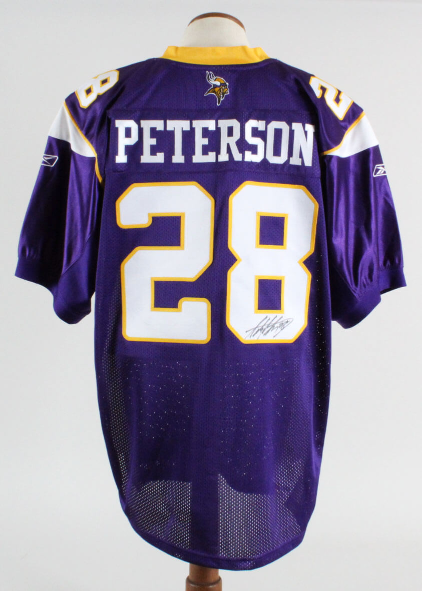 reputable site 27cda 841e2 Adrian Peterson Signed Jersey Vikings - COA JSA