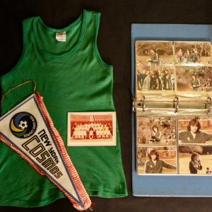 A Pelé Game-Used New York Cosmos Training Top.  1977.  Includes:  Cosmos Pennant, 1979 Cosmos Christmas Card, Personal Cosmos Photo Album.