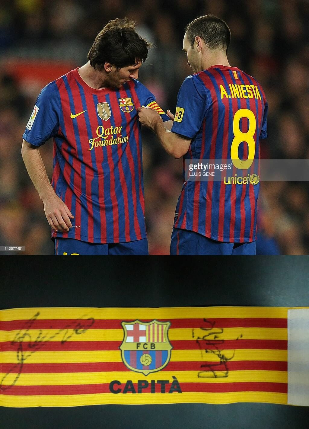 A Lionel Messi and Andrés Iniesta Game-Used FC Barcelona Captain Armband & Signed by Messi and Carles Aleñá with Photographic proof