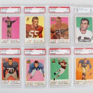 1959 Topps Graded Football Card Lot (8) -  Bart Star, Jim Taylor, Jerry Kramer etc. - Beckett & PSA