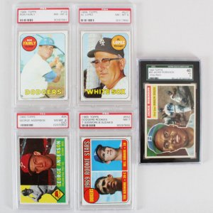 MLB Baseball Graded Vintage Baseball Card Lot (5) - Jackie Robinson, Al Lopez, etc. - SGC & PSA