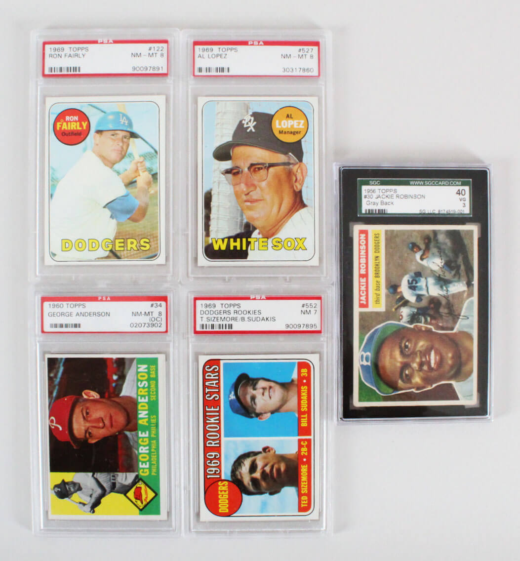 Mlb Baseball Graded Vintage Baseball Card Lot 5 Jackie Robinson Al Lopez Etc Sgc Psa