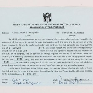 1972 Bill Walsh Signed Contract- Cincinnati Bengals Player Contract - JSA Full LOA