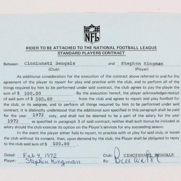 1972 Bill Walsh Signed Contract- Cincinnati Bengals Player Contract - JSA Full LOA