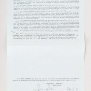 1972 Bill Walsh & Stephen Kingman Signed Cincinnati Bengals Player Contract - JSA Full LOA