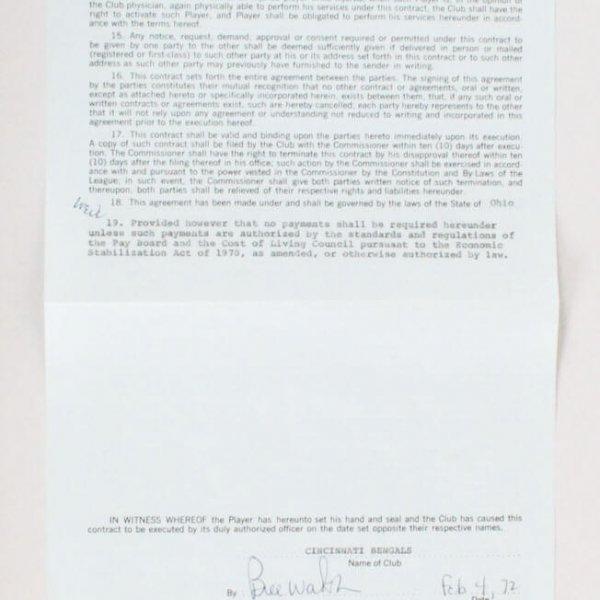 1972 Bill Walsh & Stephen Kingman Signed Cincinnati Bengals Player Contract - JSA Full LOA