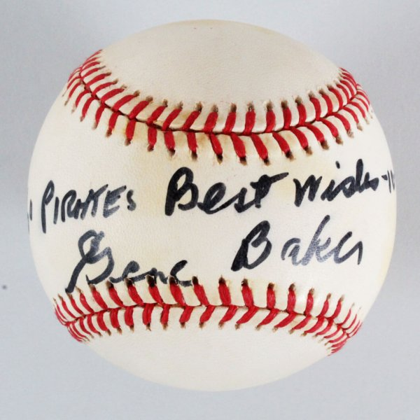 Gene Baker Pittsburgh Pirates Signed & Inscribed Baseball - COA JSA