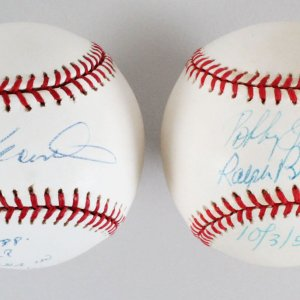 "Pair of Signed Baseballs Ralph Branca & Bobby Thompson Inscribed w/Shot Date ""10/3/51"" & Darold Knowles  - JSA"