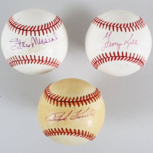 Stan Musial, Ralph Kiner & George Kell Signed Baseballs - Cardinals, Red Sox & Pirates - JSA