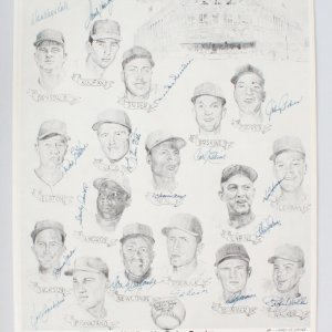 1957 Brooklyn Dodgers 18 Signed Koufax, Drysdale,  James Amore 16x20 LE 47/50 Reunion - JSA