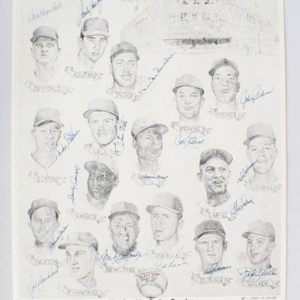 1957 Brooklyn Dodgers 18 Signed Koufax, Drysdale,  James Amore 16x20 LE 47/50 Reunion - JSA