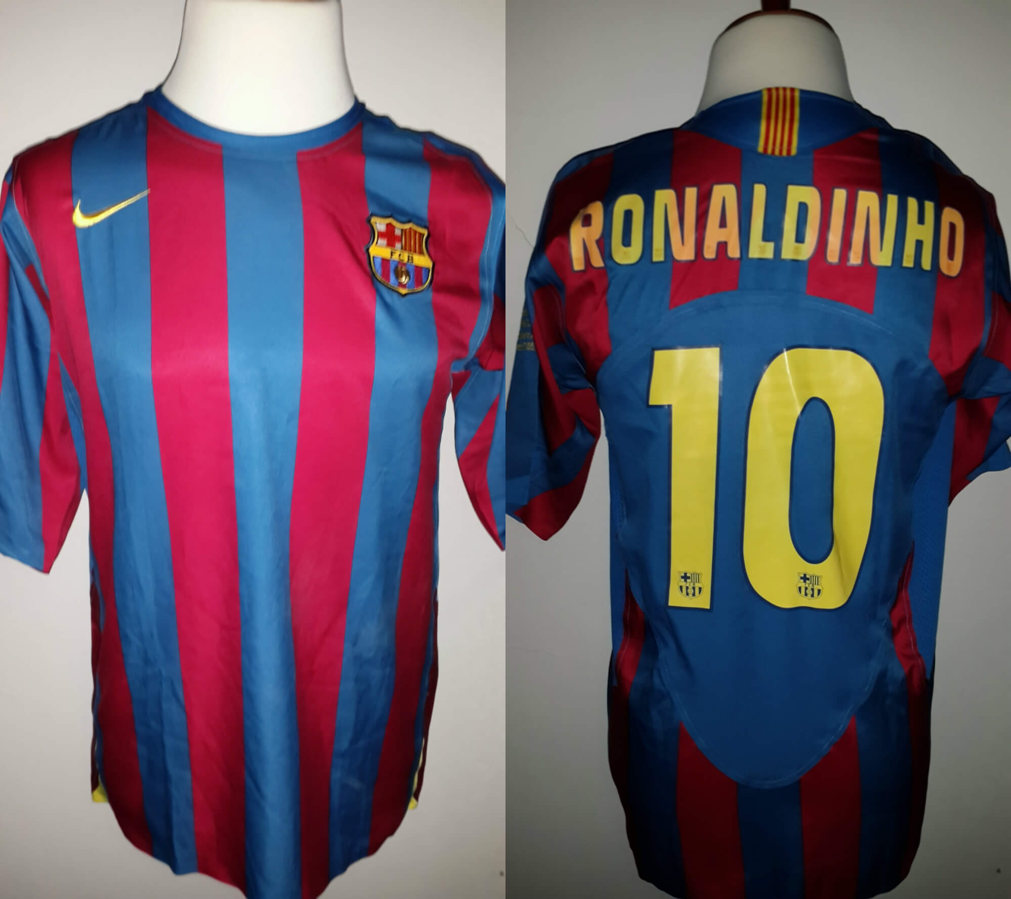 A Ronaldinho Game-Used  10 FC Barcelona Home Shirt UEFA Champions ... 8a9921df6