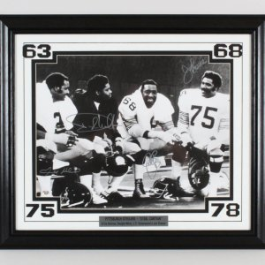 "1970s Pittsburgh Steelers ""Steel Curtain"" Signed 16x20 Photo Display Holmes, White, Greenwood & Joe Greene"
