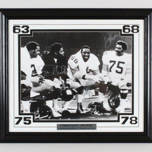 "1970s Pittsburgh Steelers ""Steel Curtain"" Signed 16x20 Photo Display Holmes, White, Greenwood & Joe Greene"