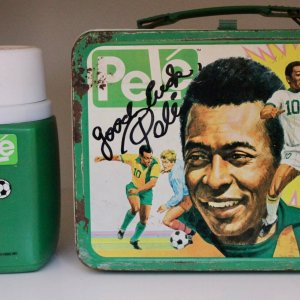 An Original Signed 1975 Pele New York Cosmos Themed Lunchbox & Thermos.  Thermos Brand.