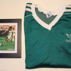 A Franz Beckenbauer Game-Used NY Cosmos Personal Training Shirt.  Includes Framed Signed/Dedicated Adidas Card.