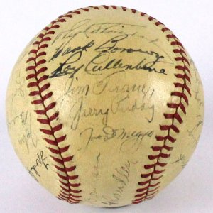1942 New York Yankees American League Champs Team-Signed Baseball (JSA)