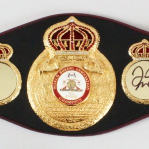 Muhammad Ali as Cassius Clay Signed Boxing Belt w/ Mike Tyson & Floyd Mayweather PSA/DNA Sticker & JSA