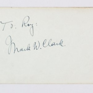 General Mark W. Clark Signed Vintage Album Page WWI, WWII, Korean War 4x6  - COA JSA