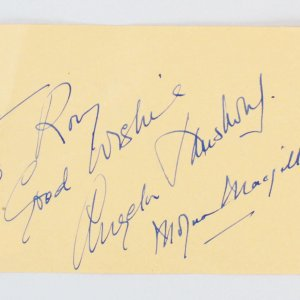 John McIntire, Angela Lansbury & Moyna MacGill Signed Vintage Album Page 4x6 - COA JSA