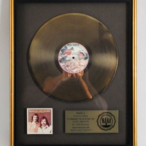 "England Dan & John Ford Cooley 1976 Gold Record ""Nights Are Forever"" RIAA"