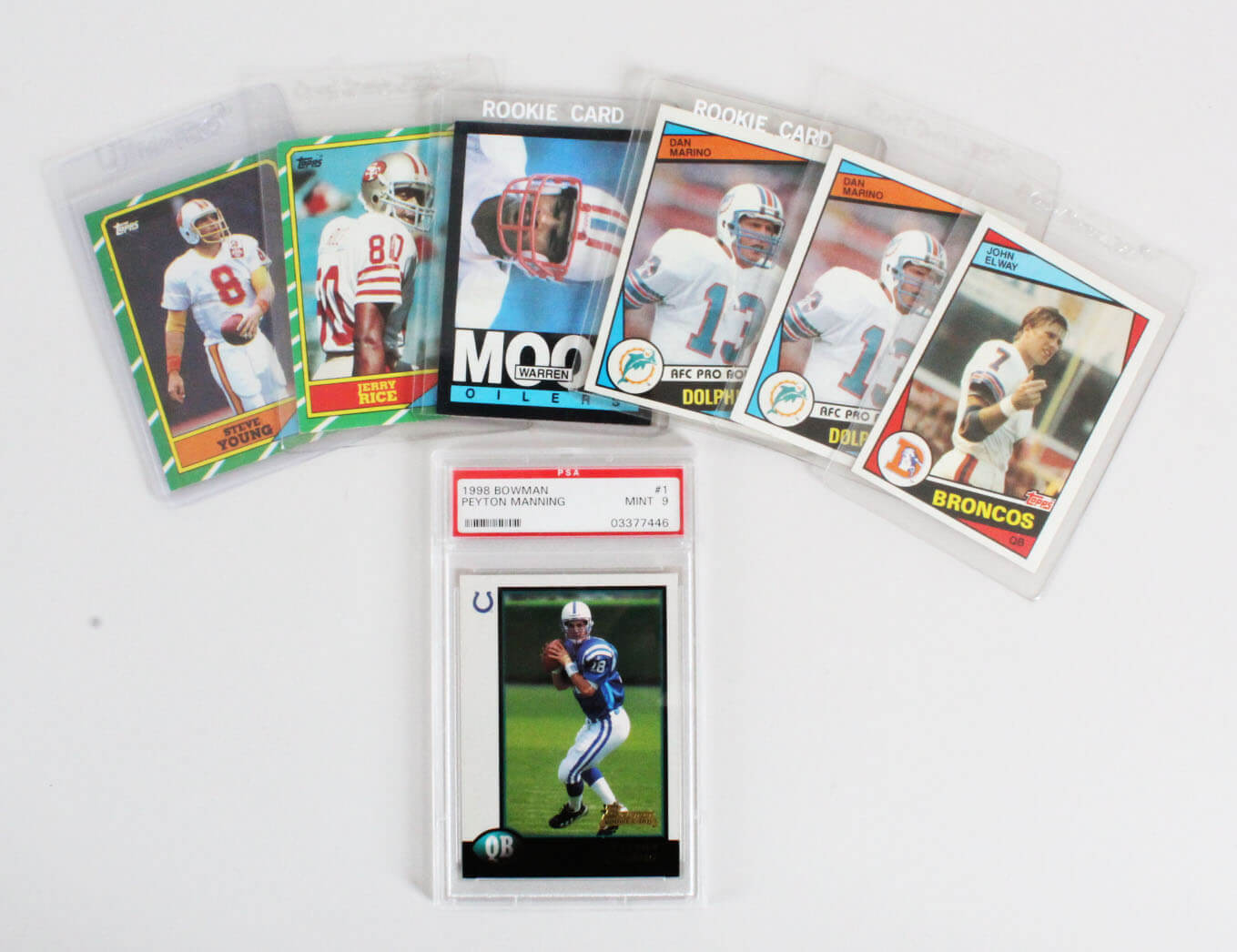 Football Rookie Card RC Lot (7) Incl. Elway, Marino, Rice, Young, Moon & Peyton Manning Graded