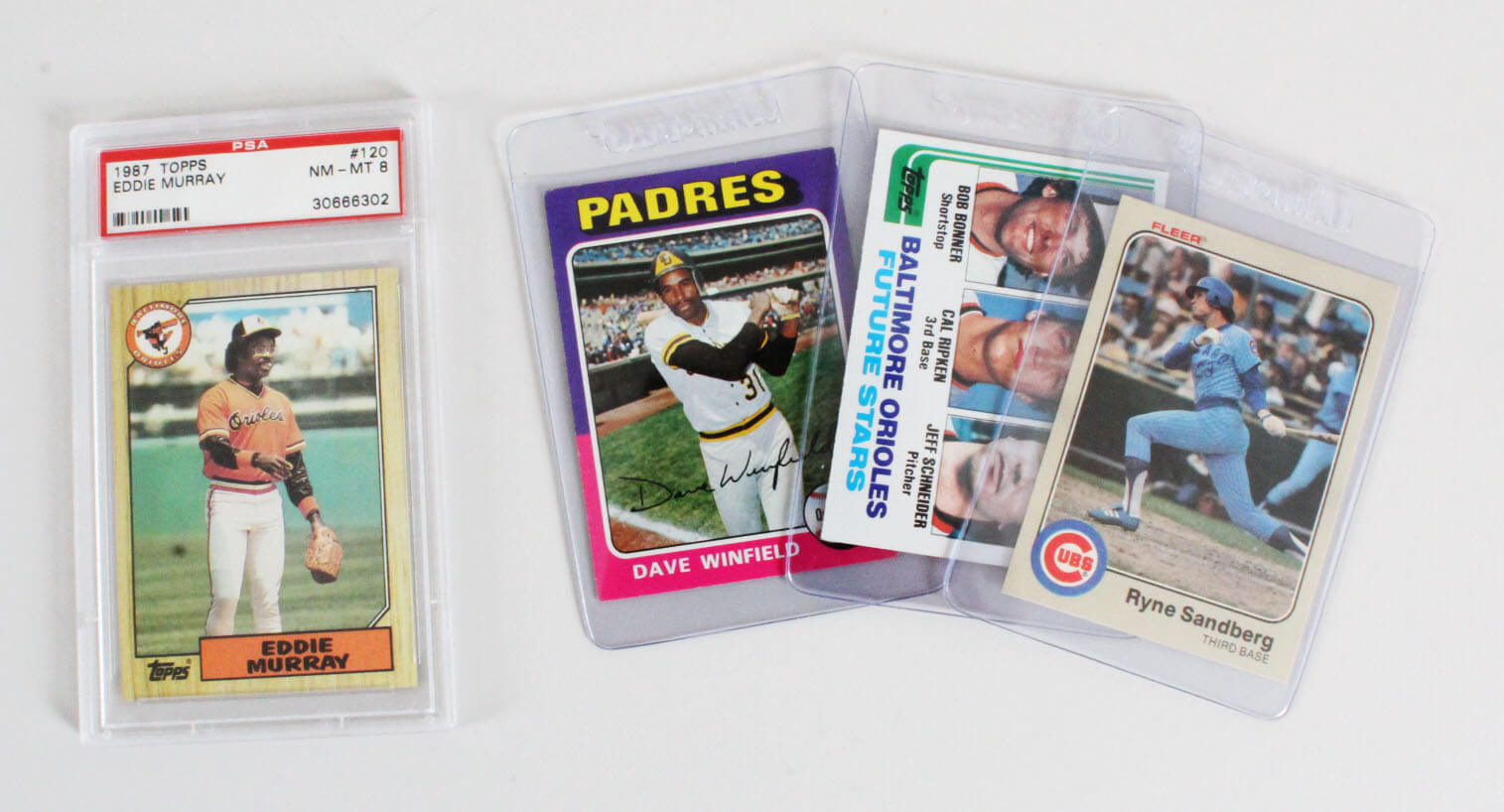 Baseball Card Lot 4 Incl Ryne Sandberg Rookie 1982 Topps Cal Ripken Jr Rc Eddie Murray Graded Etc