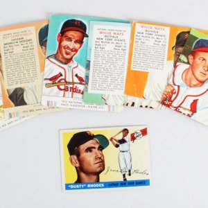 Vintage 1950's Red Man Baseball Card Lot (7) Willie Mays, Stan Musial, Roy Campanella etc.