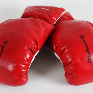 Muhammad Ali Training-Used, Signed Boxing Gloves - Provenance LOA (Las Vegas Referee - Richard Steele) & JSA Full LOA