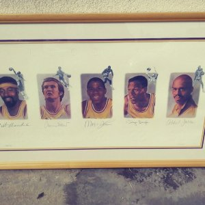 Lakers Legends Signed Lithograph Magic Johnson, Kareem, Chamberlain,West,Baylor PSA/DNA