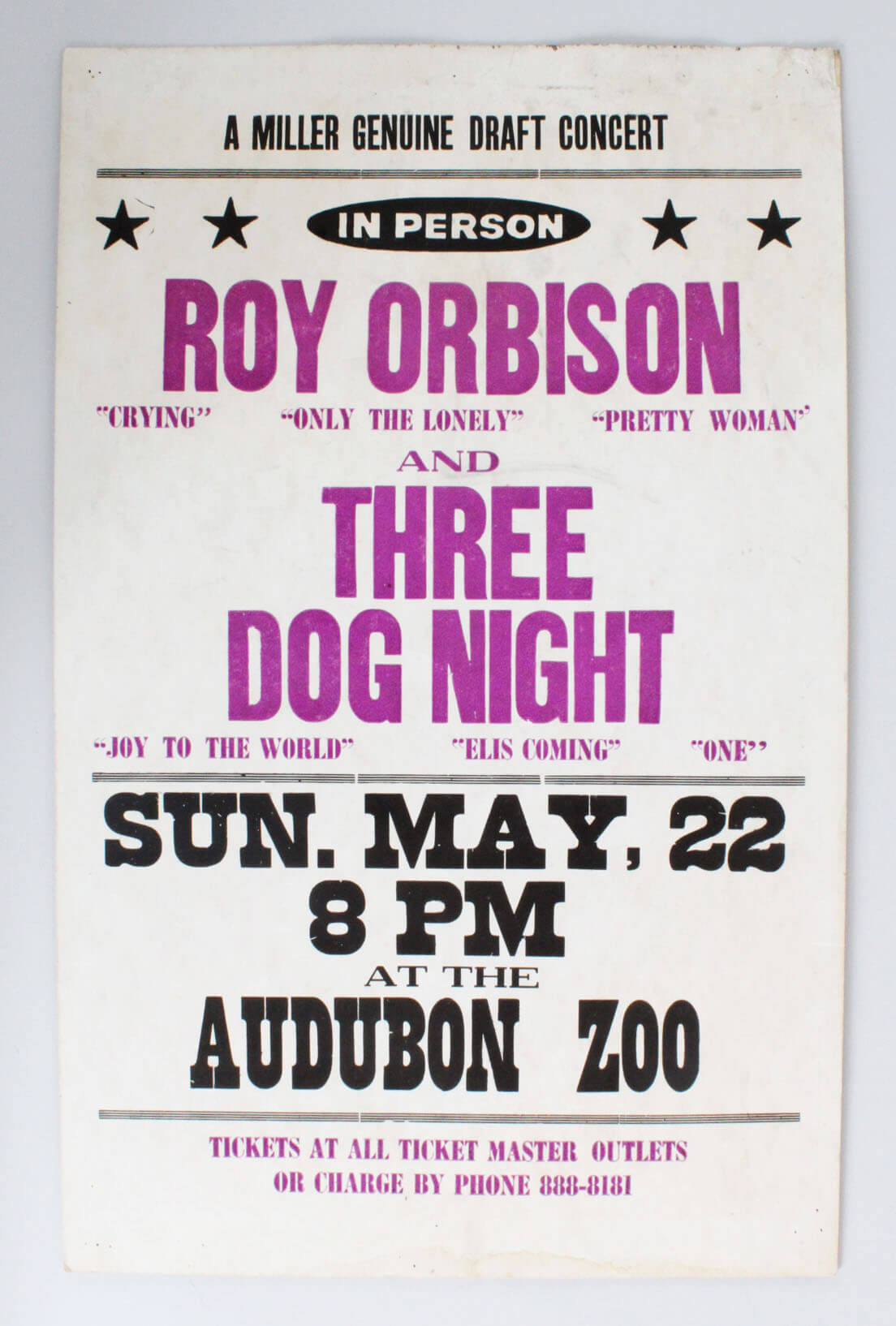 Roy Orbison & Three Dog Night 14 x 22 In Person Concert Window Card Poster