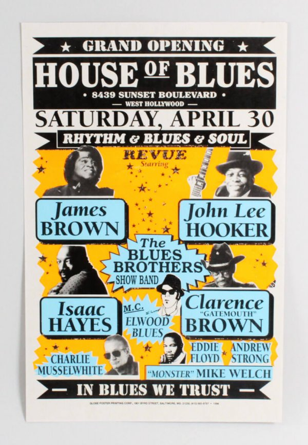James Brown & John Lee Hooker Isaac Hayes House Of Blues Grand Opening 1994 Poster
