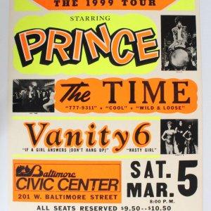 Prince 1983 Concert Tour 22 x 28 Original Poster for his 1999 Tour