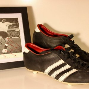 A Pair of Franz Beckenbauer's Game-Used Custom Adidas Soccer Shoes.  Circa 1960's / 1970's.