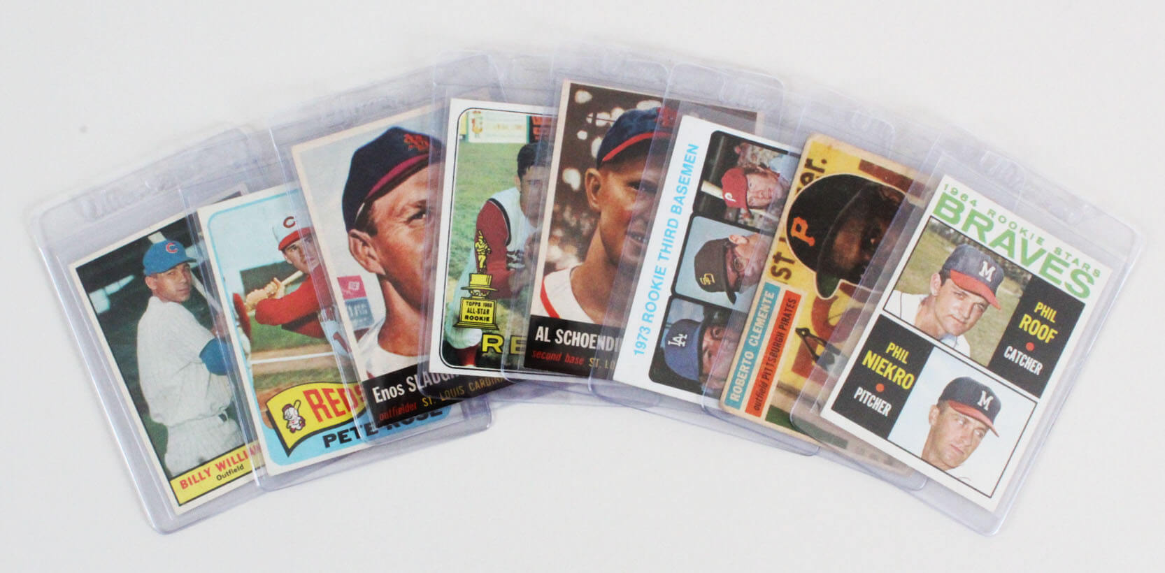 Vintage Baseball Card Lot (8) - Roberto Clemente, Pete Rose, Mike Schmidt Rookie RC etc.
