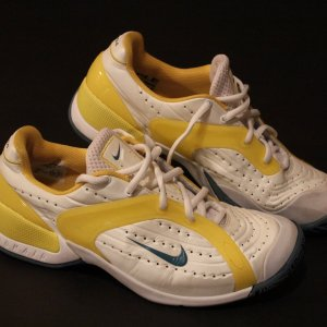A Pair of Maria Sharapova's Game-Used Custom Nike Tennis Shoes.  2010 Australian Open.