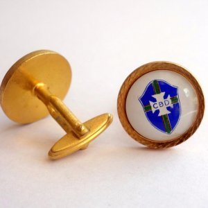 A Pair of Pele's Personally Owned & Worn Brazil National Team Cufflinks.  Circa 1960's / 1970's.