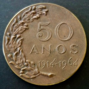An Original Brazil Football Federation (CBD) Medal Celebrating 50 Years (1914-1964).