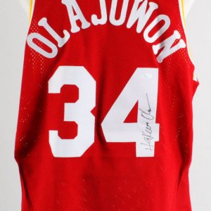 Hakeem Olajuwon Signed Jersey Houston Rockets - COA JSA