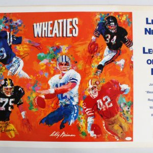 1997 LeRoy Neiman  Legends Of The NFL-Signed 28x40 Print - Walter Payton, Johnny Unitas, + 3 - JSA Full LOA
