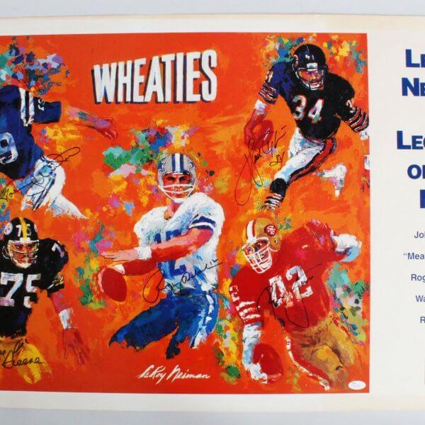 1997 LeRoy Neiman  Legends Of The NFL-Signed 28x40 Print - Walter Payton, Johnny Unitas, + 3 - JSA Full LOA