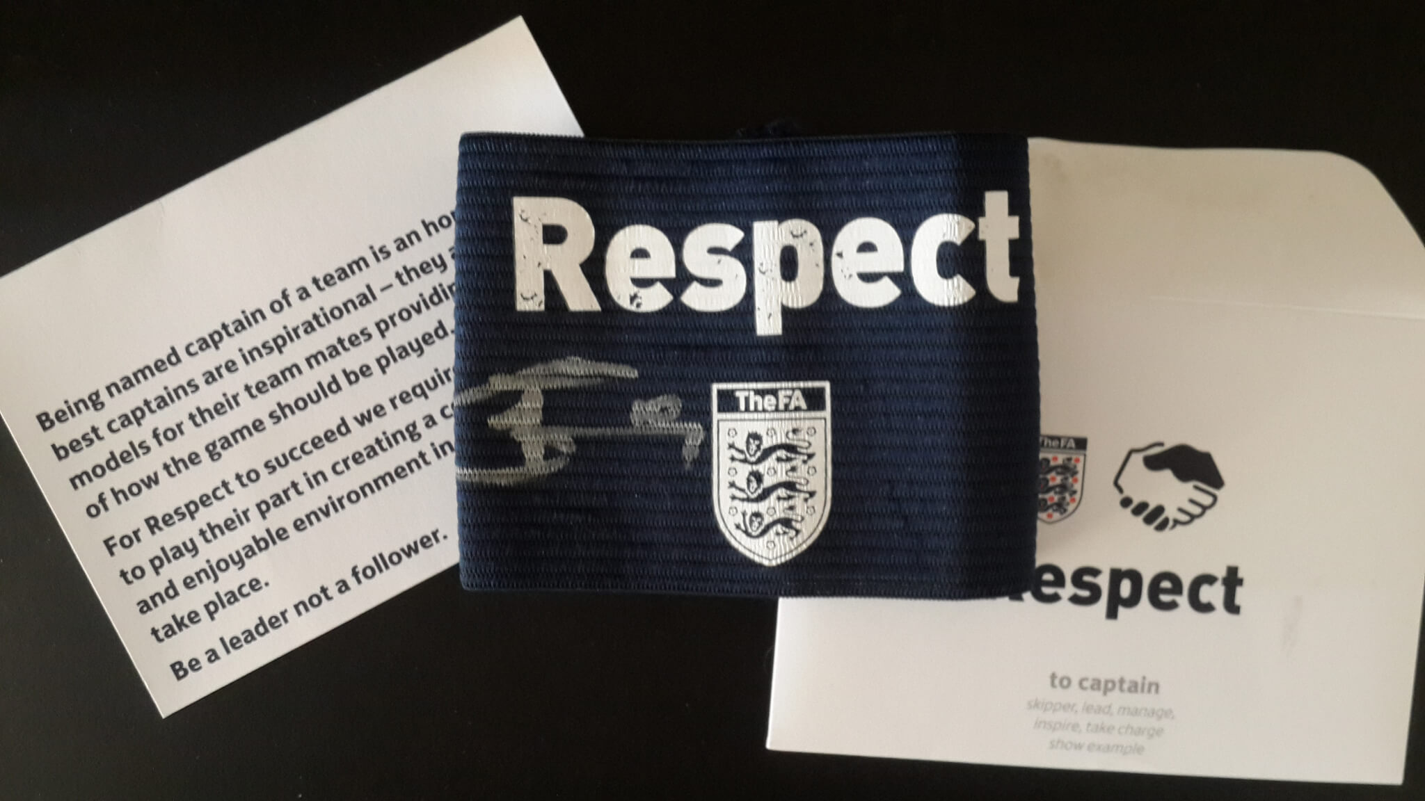 A Harry Kane Game-Used & Signed Tottenham Hotspur Captain's Armband. 2016/17 English FA Cup. Fulham vs Tottenham Hotspur 2/17/2017. Kane's Hat-trick