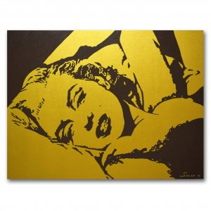 Original Hand Painting On Canvas Gold Marilyn Monroe 30x40