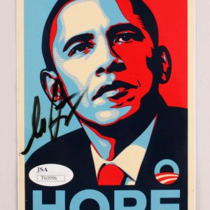 Shepard Fairey Signed Obama Hope Sticker - COA JSA