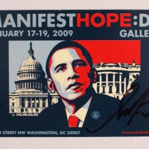 Shepard Fairey Signed Obama Hope Promo Card - COA JSA