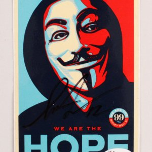 "Shepard Fairey Signed Occupy Wallstreet Sticker ""We Are The Hope"" - COA JSA"