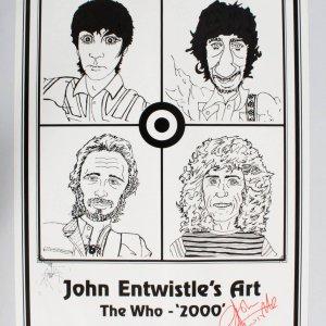 John Entwistle Signed The Who '2000' Art 18-1/2 x 24-1/2  JSA COA